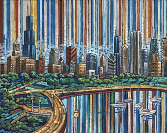 Chicago Lakefront print, Chicago Summer skyline, lake Michigan, Chicago boats, 5x7, by Anastasia Mak Art