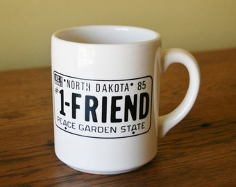 Retro 1985 North Dakota License Plate Coffee Mug