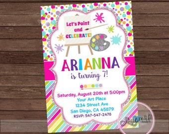 Painting Party Invitation, Painting Birthday Party Invitation, Art Birthday Party Invitation, Art Party Invitation, Digital File