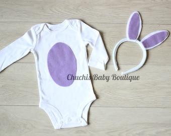 Easter Baby girl onesie Baby Girl bunny onesie with Bunny ears Headband