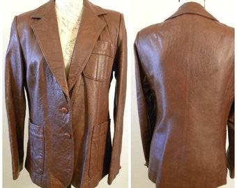 Leather Blazer Brown Jacket Size 13/14 Diamonds Leather USA Vintage 70's 1970