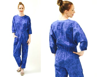 Vintage Diane Von Furstenberg Jumpsuit Size Medium Music Violin Print // 80s Vintage Blue Jumpsuit Pantsuit Medium Large Blue Long sleeves