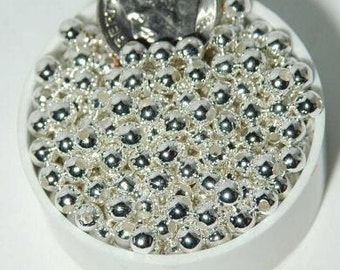 4mm Silver Plated Beads Round Smooth Metal 100pc Beads