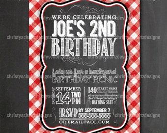 Custom Backyard BBQ Picnic Birthday Party Invitation