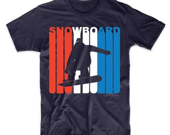 Retro Style Red White And Blue Snowboard Snowboarding T-Shirt
