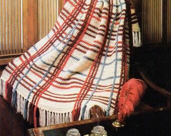 Afghan Crochet Pattern, Glen Plaid Crochet Afghan Pattern, Quick Crochet, INSTANT Download Pattern PDF (1033)