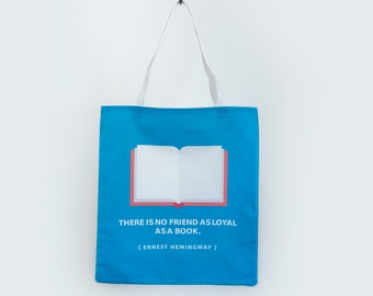 Ernest Hemingway Book Lovers Tote Bag - With Quote
