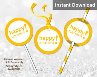 Gold Yellow Happy Birthday Cupcake Toppers, Favor Tags or Straw Flags, Instant Download, Party Decorations