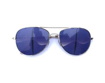 Purple Creature Eyes Graphic Aviator Sunglasses