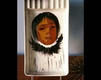 Sascha Brastoff Alaskan series ashtray or plaque mid century ceramics