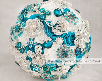 Brooch bouquet. Teal and White wedding brooch bouquet, Jeweled Bouquet. Made upon request