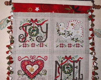 Christmas banner - embroidery stitch handmade