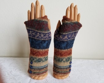Alpaca Fingerless Gloves with Stripes of Blue, Beige and Rust
