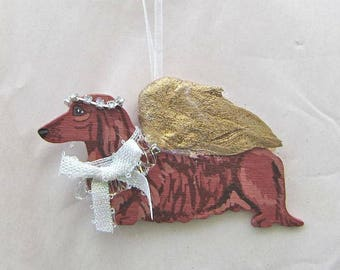 Hand-Painted DACHSHUND LH RED Gold Feathered Wing Angel Wood Christmas Ornament.....Artist Original