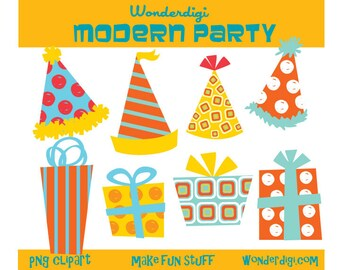 Party ClipArt - Party Hats clipart - Presents clipart - birthday party clipart - DIY printables