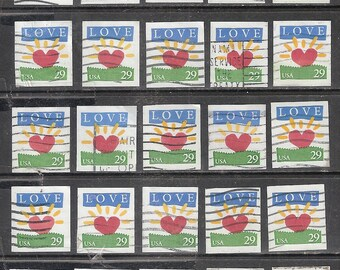 """25 LOVE """"Heart Rising"""" USED & Cancelled U.S. 29c Postage Stamps (Red Heart with Yellow Sunbeams Rising on a Green Lawn)"""