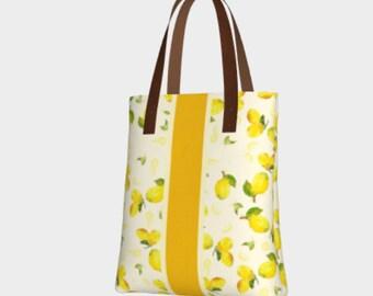 Lemon Print Bag - Summer Totes, Lemon yellow tote, Every Day Bag, lemon love, fashion tote bags, cute summer bag, shoulder bag, gift for mom