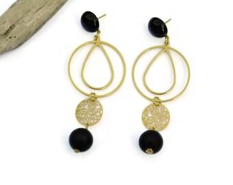 Black stone Earrings, Gold drop Earrings , Onyx Earrings, Clip on dangle earrings, Gemstone earrings, Statement earrings, Holiday gift