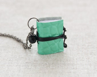 Miniature book necklace literature jewelry, mint leather necklace pendant, coworker gift, for her bookwom book lover teacher librarian