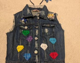 Sonic the Hedgehog Cosplay denim vest and headband