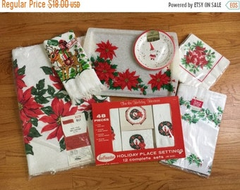Shop SALE FINAL SALE Vintage 1950s 60s Retro Christmas Hostess Entertaining Decor Set, Apron Paper Plates Napkins Tablecloth Hand Towel Bath