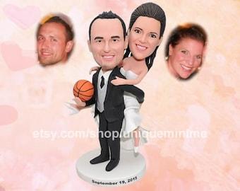 wedding cake topper, bride and groom, funny wedding   cake topper, bobblehead dolls