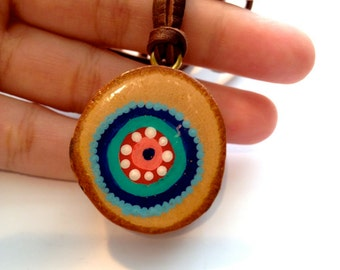 Colorful Pendant Necklace with Hand Painted Wood Slice