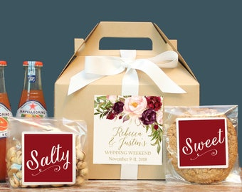 Set of 6- Fall Out of Town Guest Box / Fall Wedding Welcome Box / Fall Wedding Welcome Bag / Marsala Label Design / Fall Wedding Favor