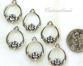 Claddagh Charms, TierraCast, Jewelry Findings, Celtic Charms, Small Silver Claddigh Charms, Antiqued Silver Plate, 6 Pieces, 8712