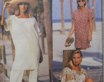 Top, Mini-Dress or Tunic and Pants or Shorts in Sizes XS to M Complete Uncut/FF Pieces Vintage 90s Simplicity Sewing Pattern 8910