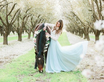 Blossom Field Tulle Full Circle High Waist Sash Skirt~ Coralie Beatrix- Custom Combine Fabrics for Bridal Skirt Seperates, Bridesmaids, Prom