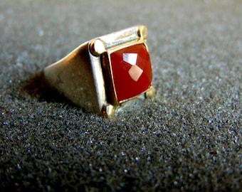 Sterling Silver and 18k Gold Graduation Ring Men's Signet Rings Gemstone Rings for Men Gift for Men Carnelian Ring Men Statement Ring