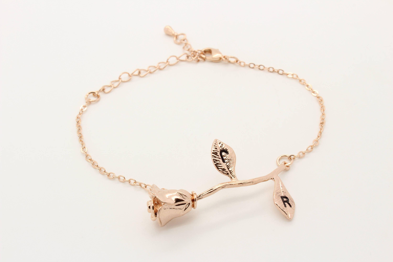 Rose Bracelet, Mom Jewelry, Rose Flower Bracelet, Beauty And The Beast Jewelry, Initial Leaf, Gift For Mom, Floral Bracelet, Flower Girl
