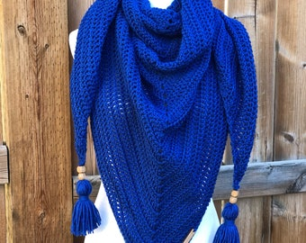 Royal Blue Triangle Tassel Scarf // tassel, triangle scarf, shawl, triangle shawl, royal blue, fall, accessories, blanket scarf, wrap,