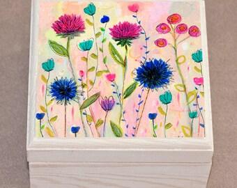 Thsitle Flower Jewelry Box, Handmade Jewelry box, Wooden Box