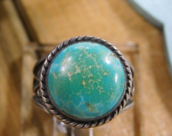 Vintage Turquoise Sterling Silver Ring Size 11