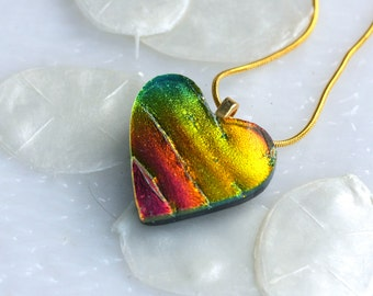 One of a Kind Heart Dichroic Fused Glass Pendant Necklace Jewelry 01190, GetGlassy
