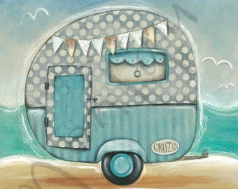 Retro Beach Caravan art print, Instant Download
