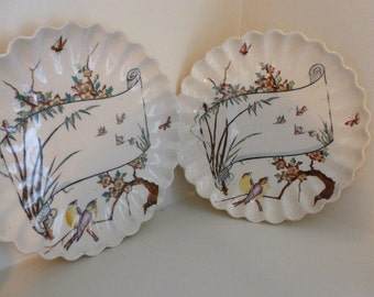 Pair of transfer printed dessert plates with pie-crust edges