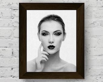 fashion illustration, black and white prints, lips print, modern poster wall art, fashion print, girl photo artwork, digital download