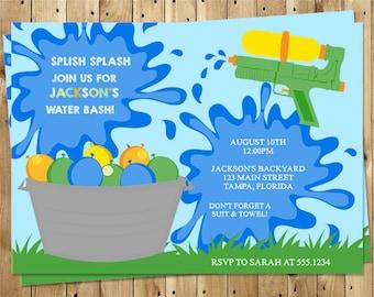 Birthday Party Invitations, Splish Splash, Water, Water Balloon, Water Gun, Water Bash, Splash Party, Boy, Girl, Summer, 10 Printed Invites
