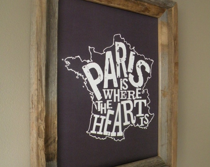 Paris Is Where The Heart Is Map Print - Unframed