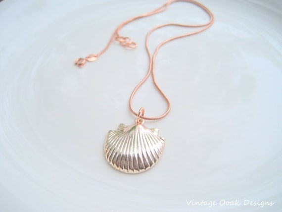 Rose Gold Shell Necklace Rose Gold Seashell Necklace Rose