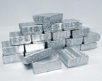 Silver Foil Boxes - 20-count (2 x 1.5 x .75 in.) Cotton Filled Jewelry Boxes