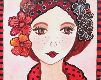 Lucile - canvas-face redhead - flowers