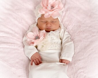 Newborn Girl Take Home Outfit, Ivory Layette Gown Cap with Blush Flowers, Newborn Gown