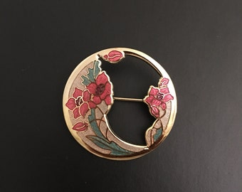 Fish & Crown 22kt Gold Plated Cloisonné Lilly Brooch