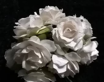 Paper Roses Ivory White Wild Roses Scrapbooking Bridal Bouquet Flower Deco 30mm 50 Pieces