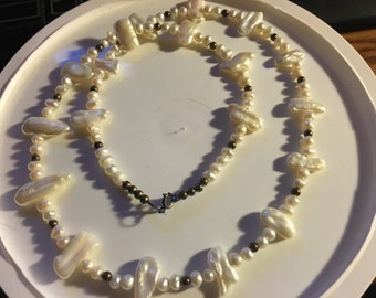 beautiful stick pearl and sterling necklace