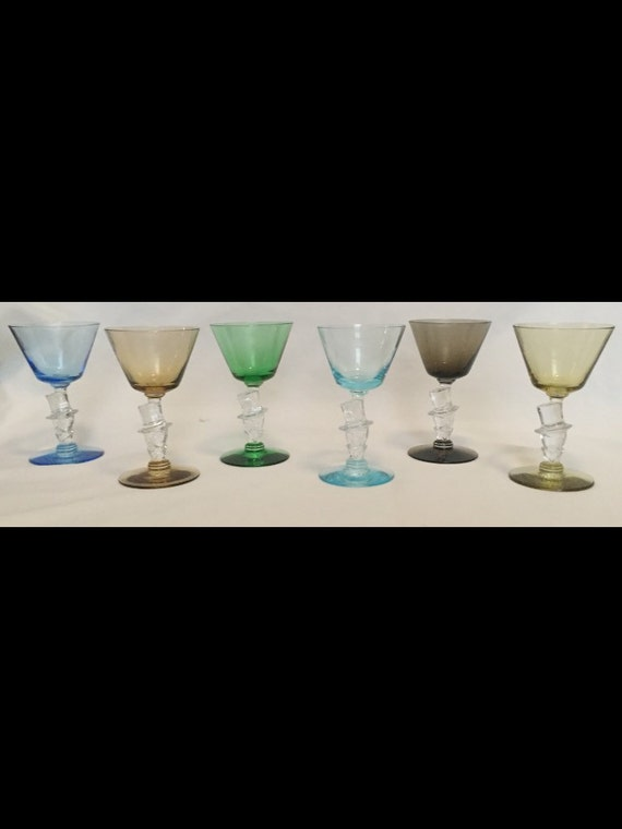 FREE SHIPPING-Rare-Set Of 6-Colored-1940's-Art Deco-Knickerbocker-Morgantown Glass-Novelty-Figural-Man In Top Hat-Stemed-Wine Glass